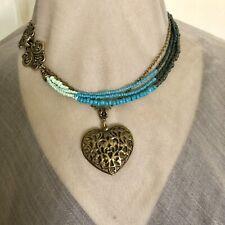 "Necklace Hallow Heart Pendant Turquoise Beaded 18"" Artisan Handmade USA 1679"