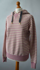Ladies Joules Paige 2 Bouquet Pink & Cream Striped Hooded Sweatshirt Size UK 12