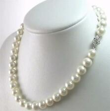 Genuine natural 9-10mm White Akoya Cultured Pearl Necklace 18 inches