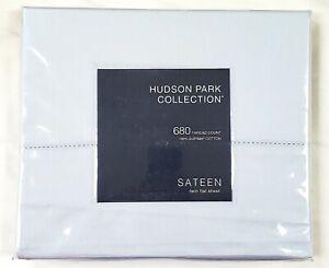 New! Hudson Park Collection 680 Tc Twin Flat Sheet Sateen 100% SUPIMA Cotton