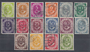 Germany Sc 670-685 used 1951-52 Numeral & Posthorn definitives complete, F-VF