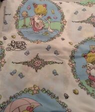 Vintage Rare Precious Moments Twin Size Flat Sheet Fabric & Pillowcase