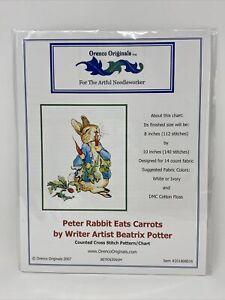 Peter Rabbit Eats Carrots Beatrix Potter Counted Cross Stitch Chart Pattern
