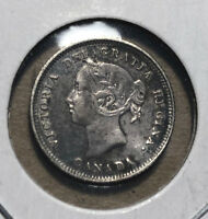1881 Canada 5 Cents Queen Victoria Silver Coin XF Condition