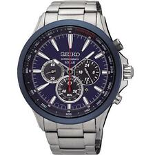 SEIKO MEN'S 45MM STEEL BRACELET & CASE SOLAR BLUE DIAL ANALOG WATCH SSC495