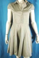 BURTON Taille 38 Superbe robe manches courtes gris vert bronze en coton dress