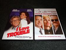 I LOVE TROUBLE & CHARLIE WILSON'S WAR-2 dvds-JULIA ROBERTS,NICK NOLTE,TOM HANKS