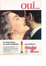 PUBLICITE ADVERTISING    1957   GEMEY   le rouge à lèvres indélébile