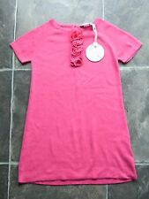 BNWT Girl's Minihaha Coral Pink Knitted Cotton Short Sleeve Dress Size 4
