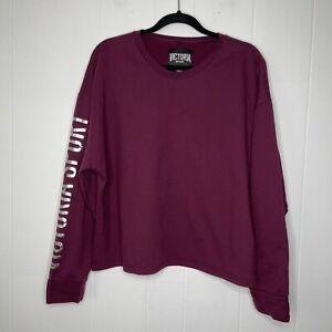 Victoria's Secret Sport VSX Women's Cropped Crewneck Sweater Burgundy Size XL