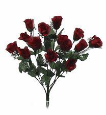 14 Long Stem Roses WINE BURGUNDY Silk Wedding Flowers Centerpieces Bouquets DIY