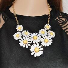 White Yellow Daisy Flower Statement Necklace Bubble Bib Collar Girl Women