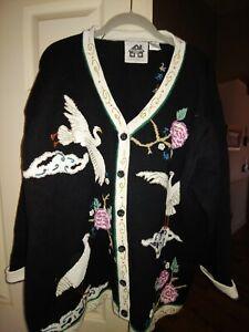 Storybook knits 3x Cardigan Floral Black/ Birds