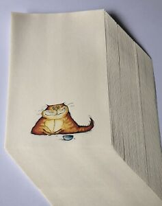 Writing Paper Pack, high quality cream paper 60 pages - A5 Size - Ginger Cat
