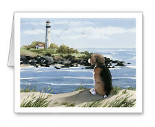 Beagle At The Beach Set of 10 Note Cards With Envelopes