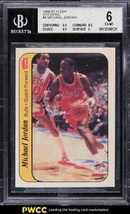 1986 Fleer Sticker Michael Jordan ROOKIE RC #8 BGS 6 EXMT