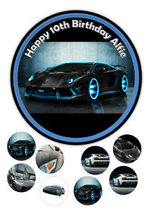 Edible lamborghini revention 7.5 Inch Round Iced Icing Cake Topper +8 cupcake