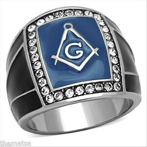 MASONIC MASON CRYSTAL BLUE BLACK STAINLESS STEEL SILVER RING 8 9 10 11 12 13