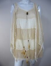 Pretty Angel NWT Sleeveless Lace Blouse Size M Medium Ivory Striped