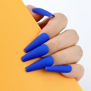 100Pcs/Box Artificial Nail Tips Matte Solid Full Cover Acrylic French False Nail