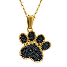 Black Diamond Accent 14K Solid Yellow Gold Paw Print Pendant With Silver Chain