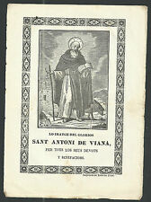 Grabado antiguo de San Antonio Abad andachtsbild santino holy card santini