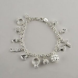 Bettelarmband Armband mit Stempel 925 inklusive 13 Charms