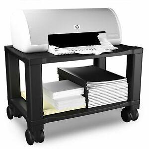 Printer Stand Compact 2 Shelf Locking Wheels Scanner Computer Office Supplies