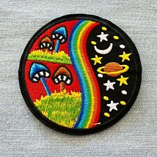 Space Mushroom Embroidered Patch Trippy Hippie Embroidery Patches Iron Sew On
