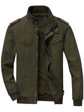 Mens Jacket Slim Fit Warm Winter Casual Coat Overcoat Outwear Black Military Zip