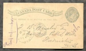 1430 - ST GEORGE NB 1887 Split Ring on Postcard to Fredericton
