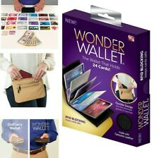 Wonder Wallet Amazing Slim Thin Wonder RFID Wallets As Seen on TV -Black Leather