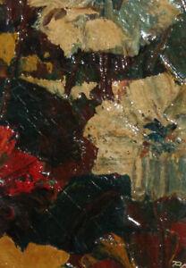 1980 Modernist floral oil painting signed