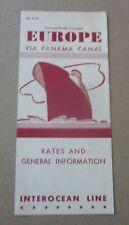 Old Vintage 1965 - Interocean Line STEAMSHIP Brochure - EUROPE via Panama Canal