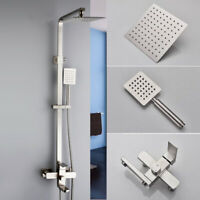 Brushed Nickel Wall Mount Bathroom Shower Faucet with Hand Shower Mixer Tub Tap