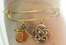 Outlander Dragonfly Amber Celtic Knot Charm Wire Bangle Bracelet Scottish Irish