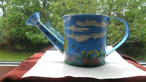 Pretty colourful decorative hand-painted (rural scene) tin indoor watering can.