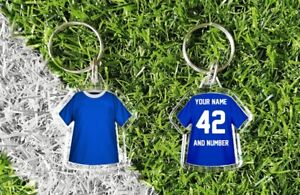 CHELSEA shirt personalised keyring. Add your own name and number. Retro & modern