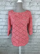 PAPAYA - Pink White Knitted 1/2 Sleeve Jumper - Womens - Size 12