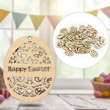 50 Pcs 40mm Happy Easter Eggs DIY Wooden Egg Craft Easter Home Decoration