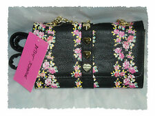 Betsey Johnson Trapunto Heart Stud Rose Floral Wallet On A String Purse