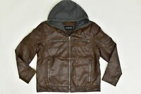 Men's Guess LT Bomber Jacket Hooded Lined Brown Faux Leather