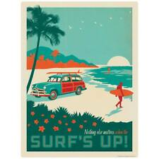 Surfs Up Beach Woodie Wagon Decal Peel and Stick Decor