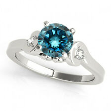 0.83 Carat Blue Diamond Solitaire Engagement 3 Stone Ring Sparkling 14k Gold