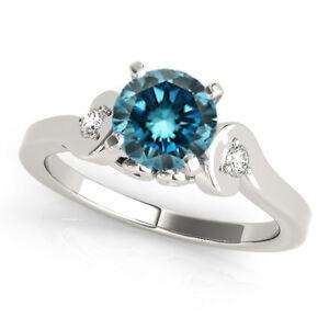 0.83 Carat Blue Diamond Solitaire Engagement 3 Stone Ring Sparkling 14k Gold
