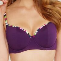 LADIES PURPLE BALCONY BIKINI TOP Just Peachy FIGLEAVES Tequila NEW