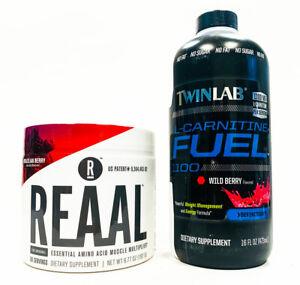 2 PACK Twinlab REAAL Essential Amino Acid 30 Serves + CARNITINE FUEL 16 oz BERRY