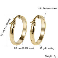 18K Yellow Gold Filled Stainless Steel Fashion Round Women's Hoop Earrings Gift