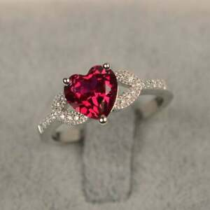 Natural  Ruby Ring July Birthstone Ring 925 Sterling Silver Wedding Ring For Her