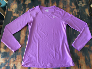 Under Armour Women's Heatgear Fitted Long Sleeve Shirt Purple Size Small